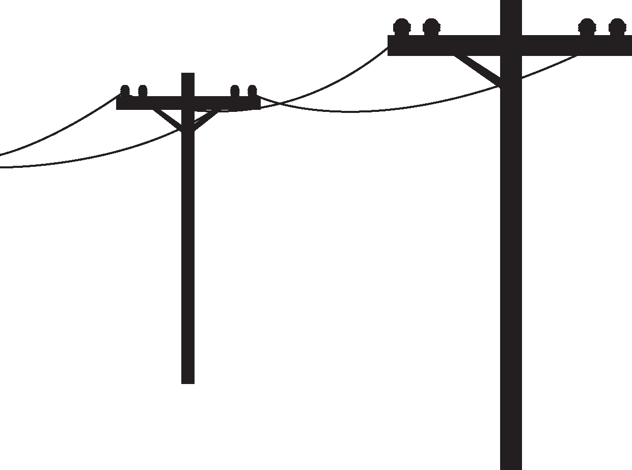 two power poles with electric lines